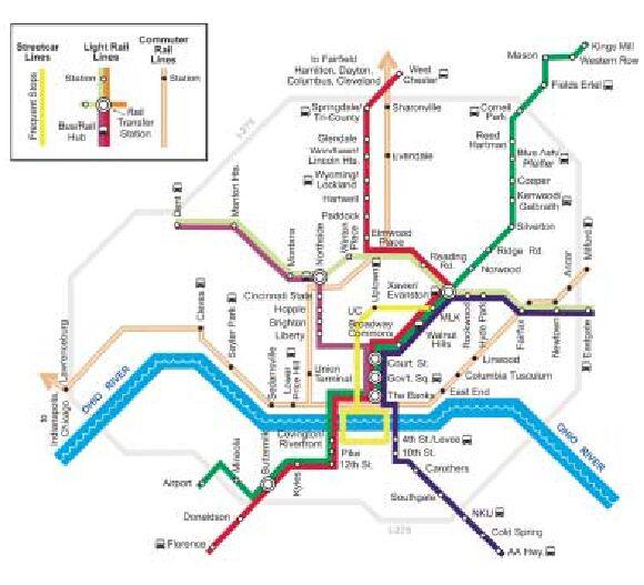 Cincinnati Subway Map.Cincinnati S Rail Bus Plan