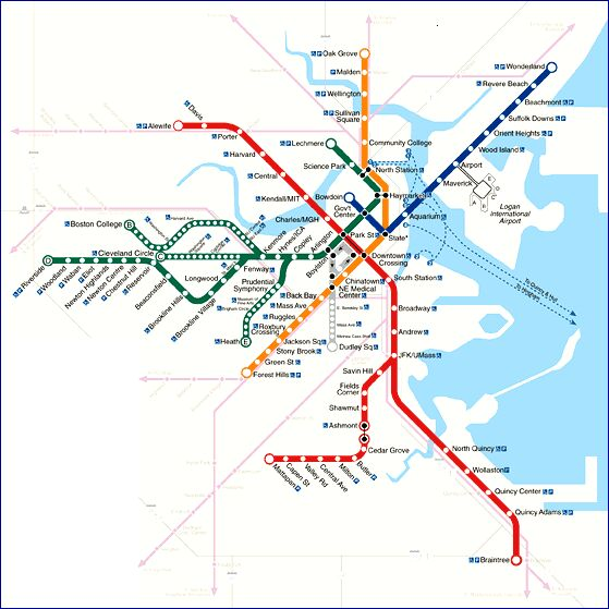 train in boston map Boston Light Rail Transit Overview train in boston map