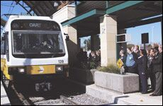 LRT arriving in Downtown Garland
