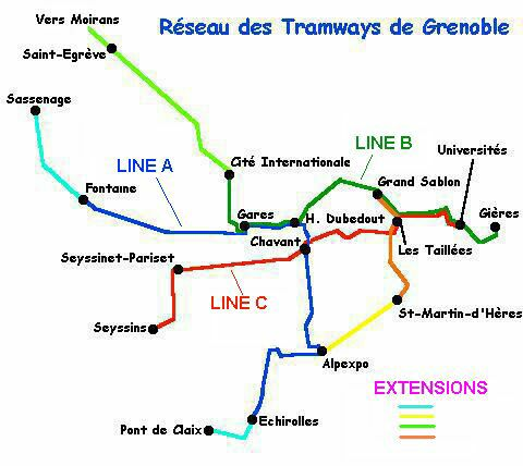 Grenoble Light Rail Tramway map