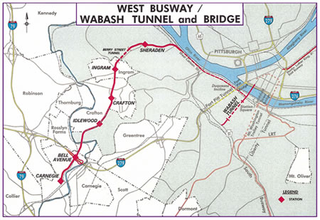 Pittsbrugh West Busway map