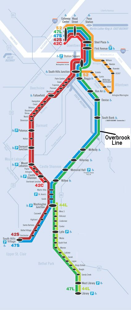 Pittaburgh Subway Map.Pittsburgh Rehabilitated Overbrook Lrt Line Opens