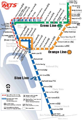 San Diego LRT map