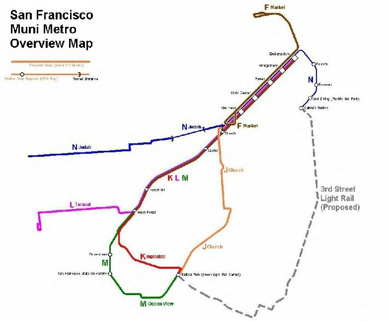 San Francisco Muni Light Rail Transit System - San francisco rail map